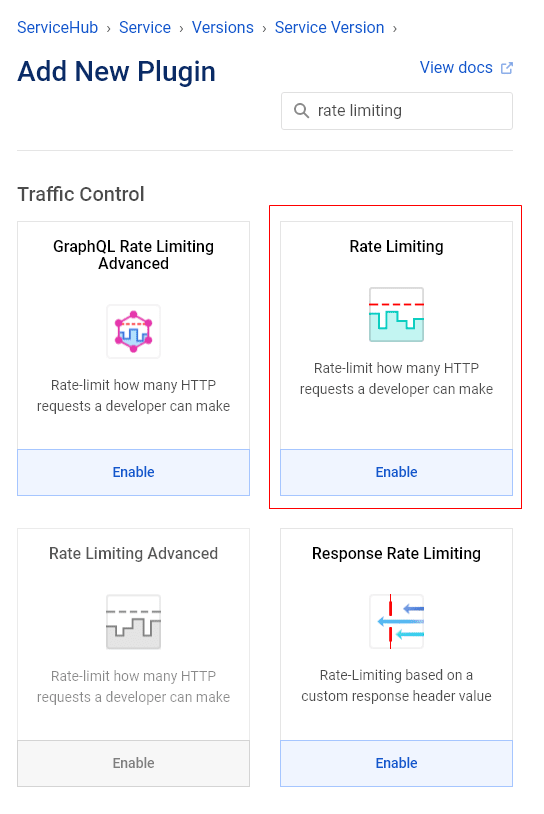 Enable the Rate Limiting plugin