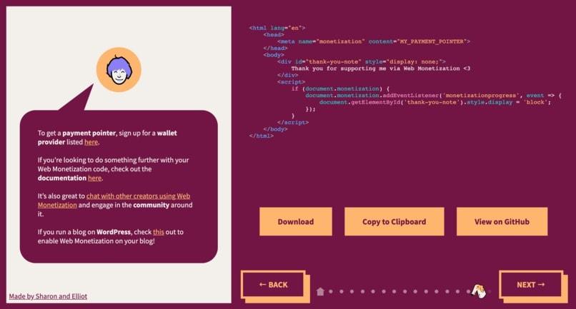 A Web Monetization Story Screenshot
