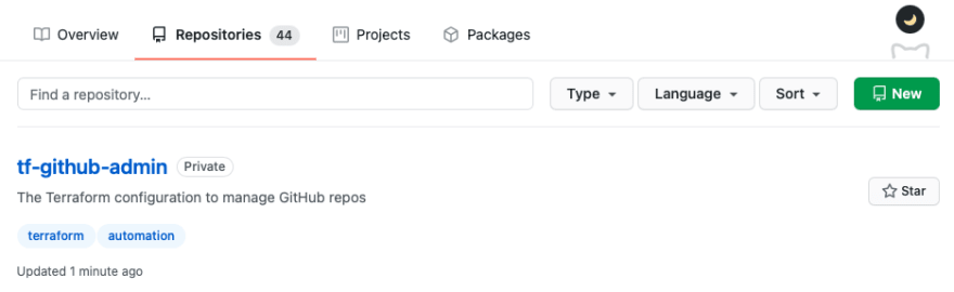 GitHub Terraform Repo created