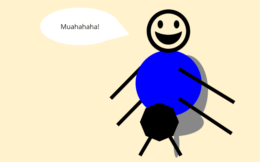 A cartoon of a bug with a blue blazer and looking like its missing undergarments and pants below its belt sitting on an office chair whilst laughing evilly