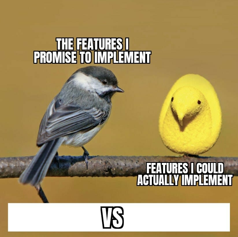 Features promised vs Features implemented: