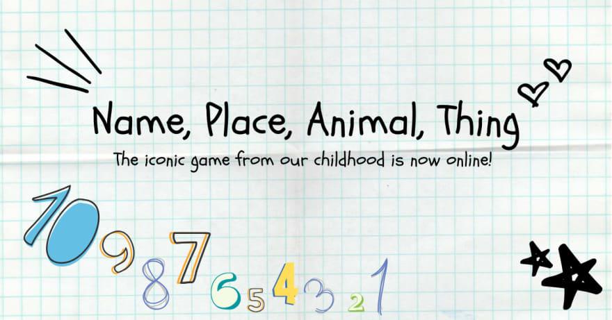 Name, Place, Animal, Thing banner