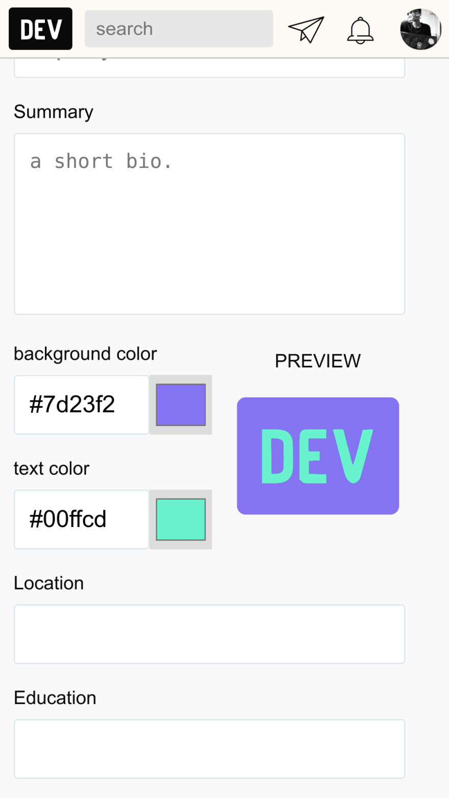 Mobile screenshot of color preview feature