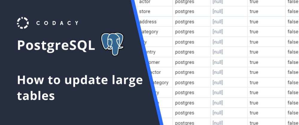 Cover image for PostgreSQL: How to update large tables