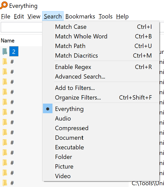 Search menu and its filters