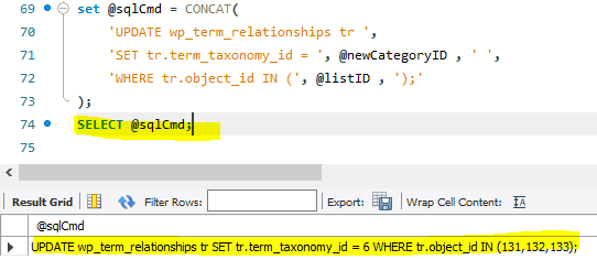 Verify the SQL command to update the posts with given ID lists.