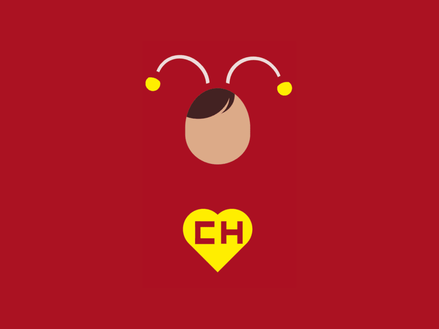 "Simple cartoon with  different shapes: a heart with the letters ""CH"", a rounded area that looks like a face with hair, and two antennas with pompoms at the top"