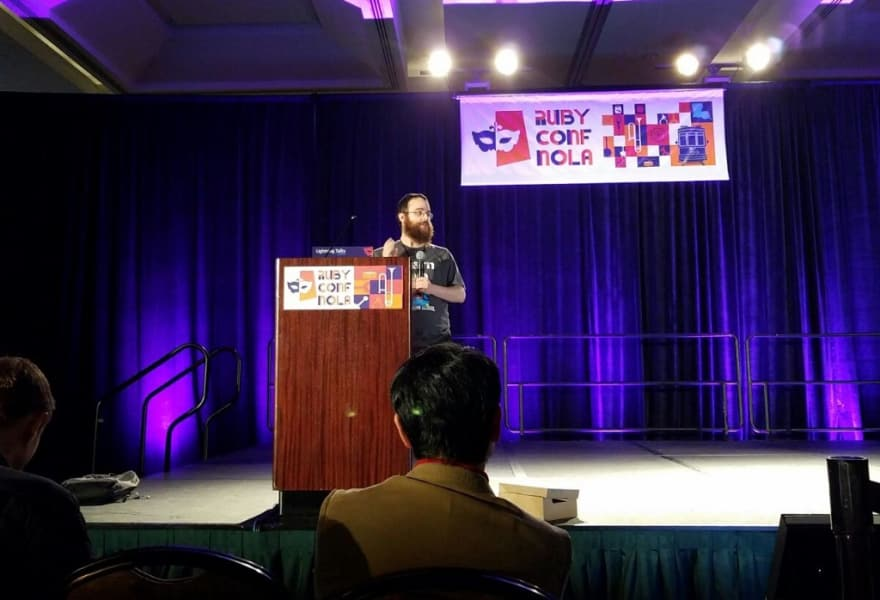 Me on the stage at RubyConf