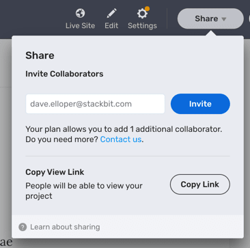 Share dropdown option to invite others to collaborate within Stackbit Studio