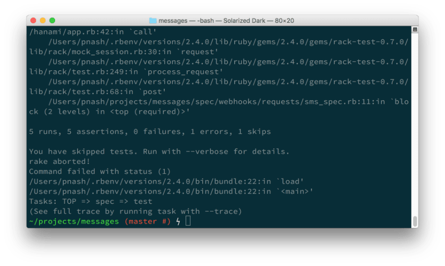 A screenshot of the results for running the application tests. 5 runs, 5 assertions, 0 failures, 1 error, 1 skip.