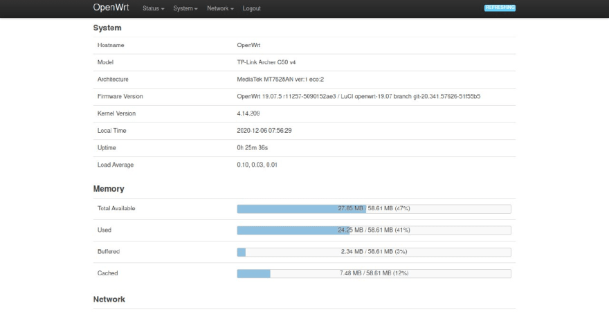 LuCI web interface of OpenWrt installed on TP-Link Archer C50 V4