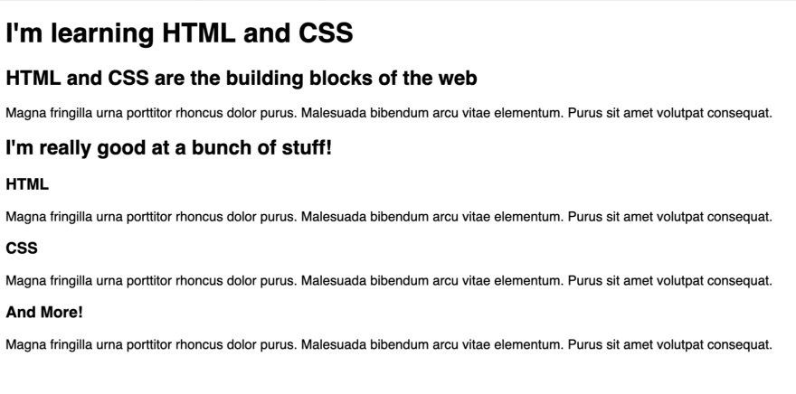 The layout is written in just HTML