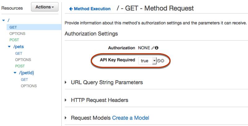 API Key AWS UI console