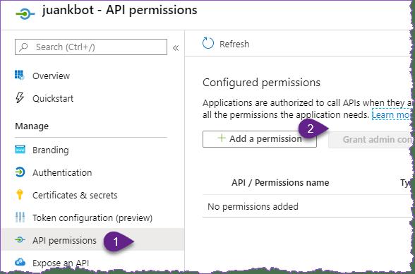 Azure AD permisos de aplicación