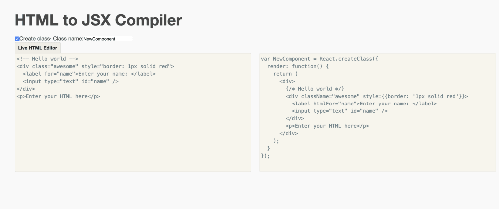 Cover image for HTML to JSX Compiler