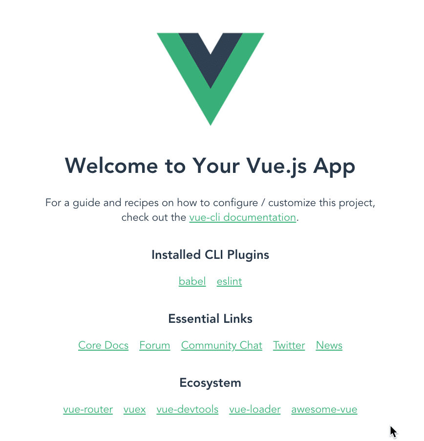 Default vue application