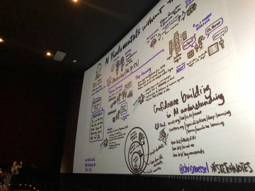 Amara in front of a movie screen showing a sketchnotes from an AI talk