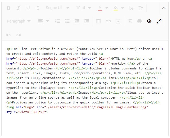 HTML tags displayed in the correct format