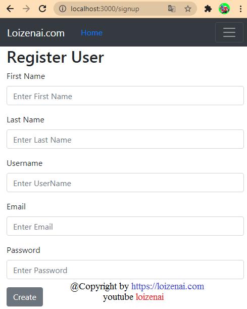User Register page