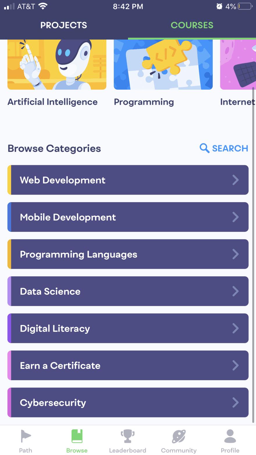 Screenshot of m1m0 Courses