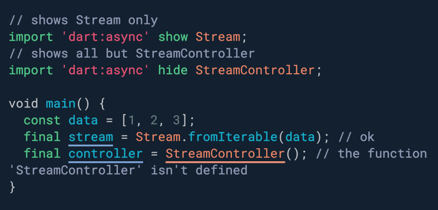 Want to selectively import some APIs in a package? Use show & hide.