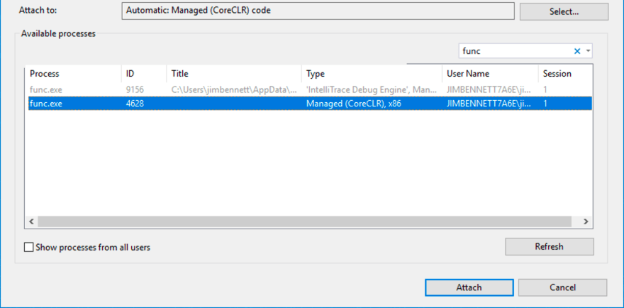 Finding the func process in the attach dialog