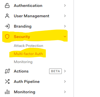 Open the MFA page under the Security menu