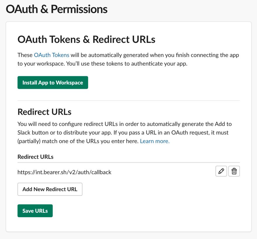 Slack Redirect URLs