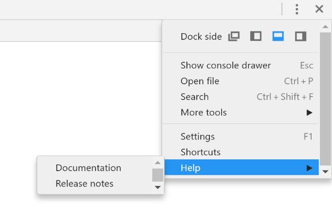 Chrome's Devtools Menu