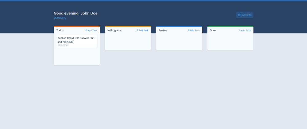 Cover image for Kanban Board with TailwindCSS and AlpineJS