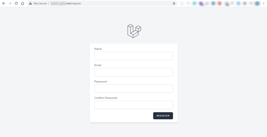 laravel breeze register page
