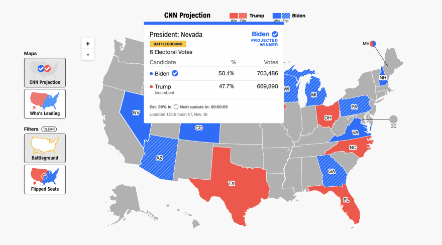 CNN's election map. The mouse is hovering over Nevada, and a pop-up shows a card with Nevada's voting info, containing the same info as in their card overview
