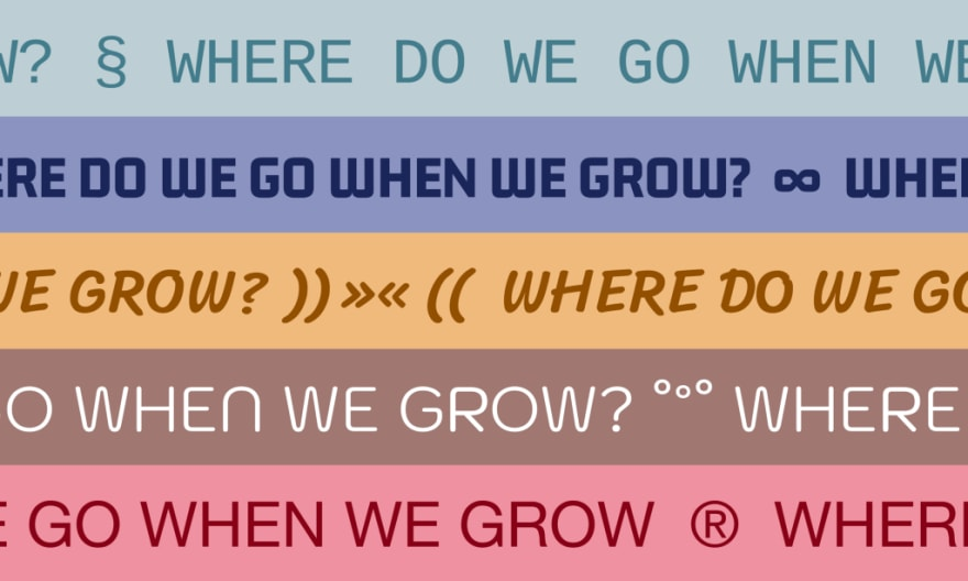 """The sentence """"Where do we go when we grow?"""" written in different fonts and colors."""