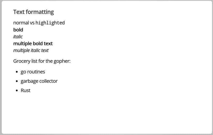 text formatting list