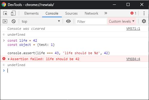 Alt Chrome : console.assert result