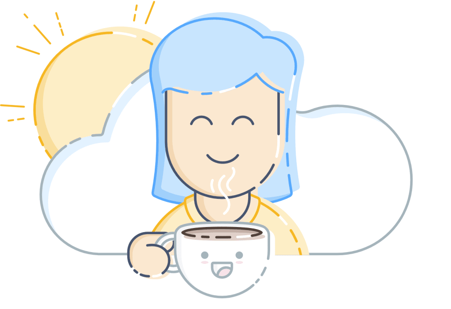 A happy person with a happy cup of coffee