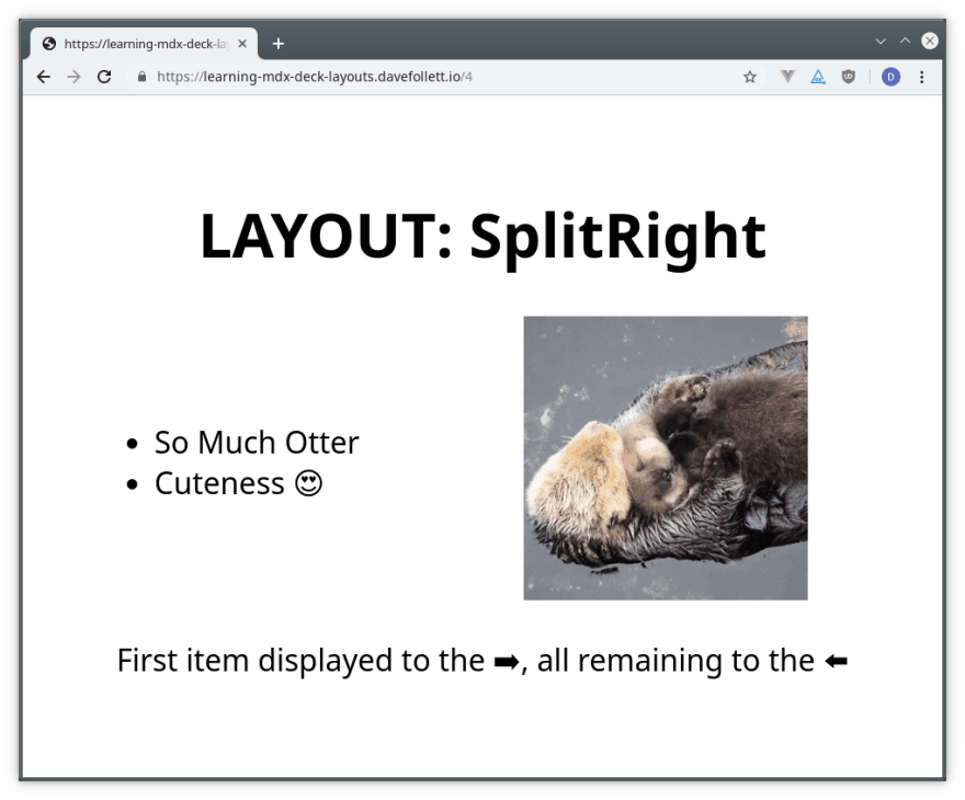 Example of MDX Deck's SplitRight Layout Rendered