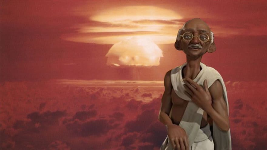 Gandhi meme where an overflow bug meant Gandhi would drop a nuke on you if you were too nice to him in Sid Meir's Civilization