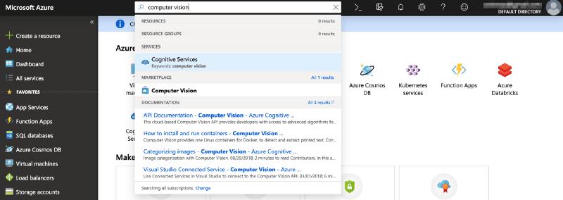 Screenshot of Microsoft Azure dashboard