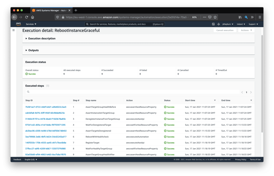 AWS console showing the individual steps of the automation document removing the targeted instance from rotation before executing the maintenance automation document