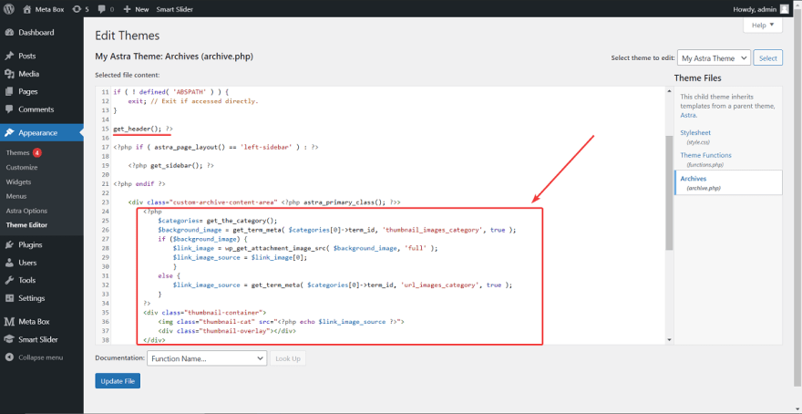 Add code to change the template of theme to display the images from the custom fields as a featured image