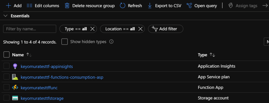 Azure Resources after deploying