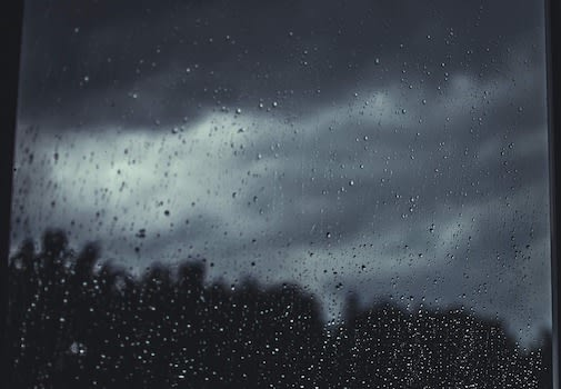 rain drops on a window pane looking out at the woods and a dark, cloudy sky