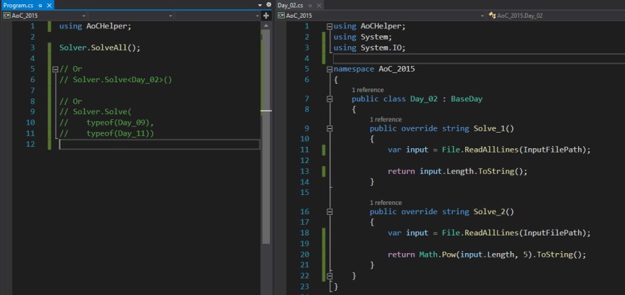 Personal workspace while using AoCHelper library: main program class on the left and problem class on the right