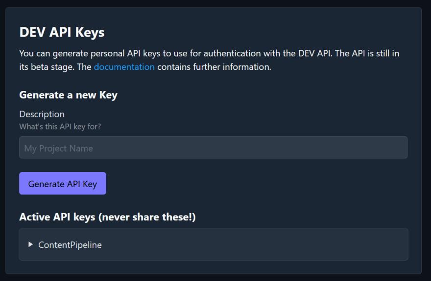 DEV API Keys