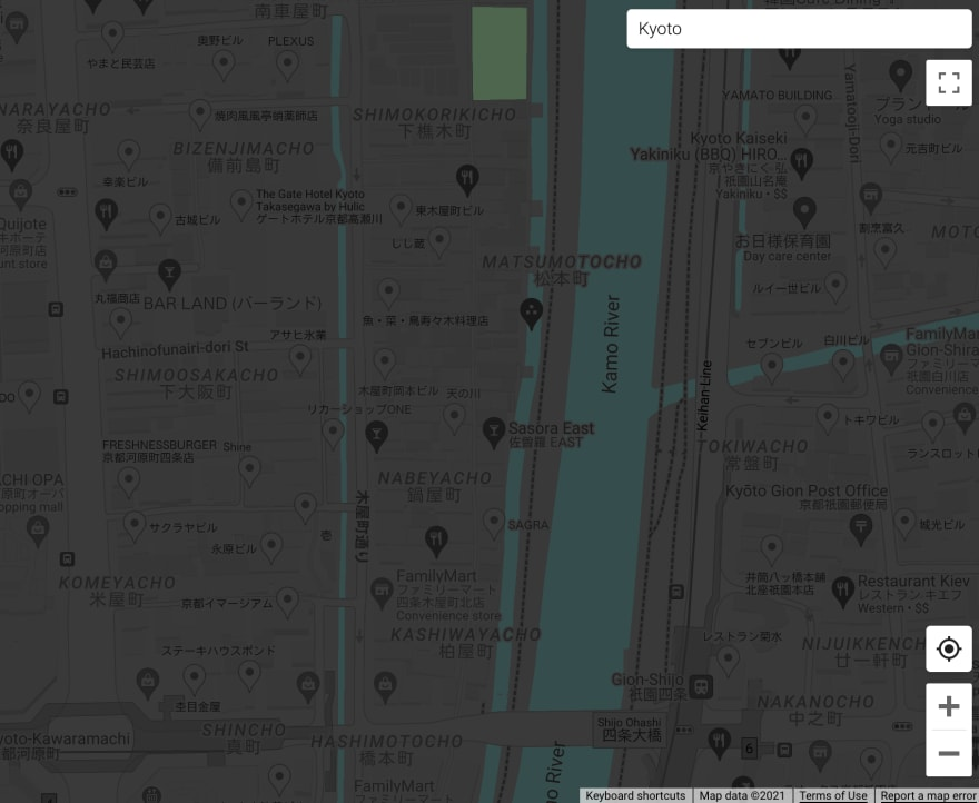 A street map with parks in dark green, rivers and canals in dark cyan and other elements in dark shades of gray