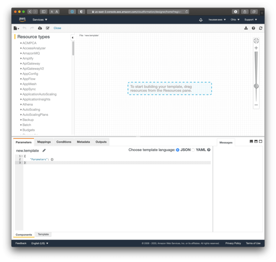 Screenshot of the CloudFormation visual designer software. It allows to drag and drop components or modify JSON/YAML format.