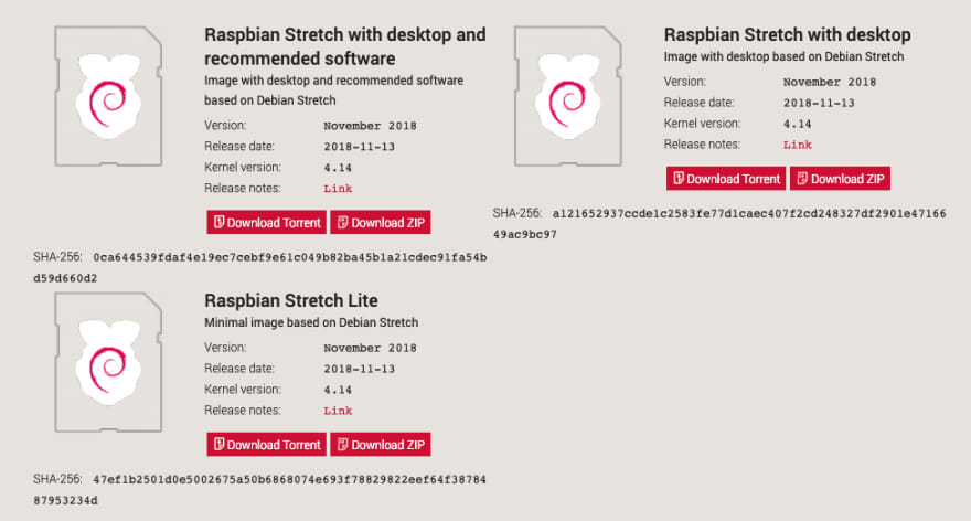Download Raspbian Stretch Lite