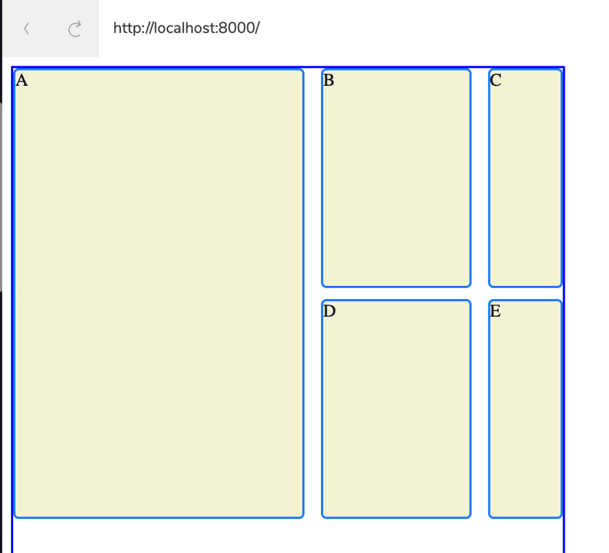 Empty grid boxes set out as per the code