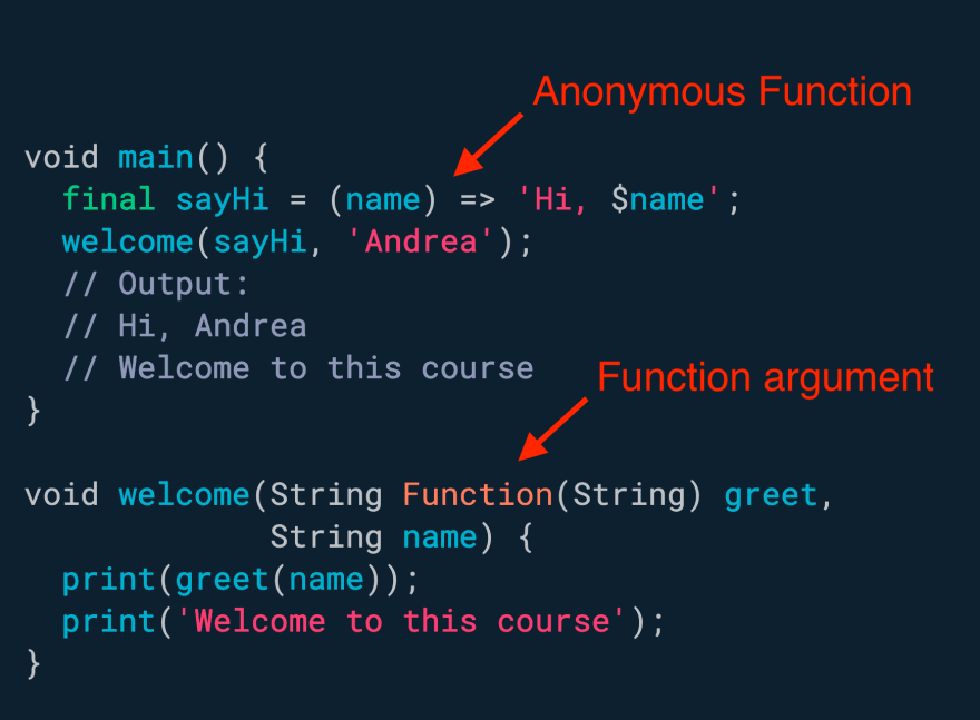 Anonymous functions can be assigned to variables, or passed as arguments to other functions